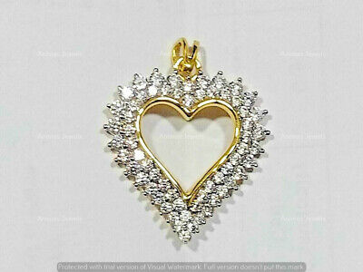 "1.80 Ct Diamond Double Halo Heart Shaped Pendant 18"" Necklace 14K Yellow Gold GP"