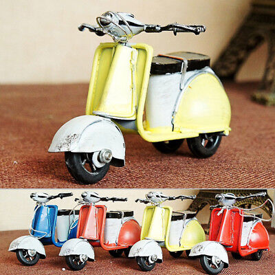 Vintage Retro Mini Pedal Motorcycle Scooter Figure Metal Ornament Decor Display
