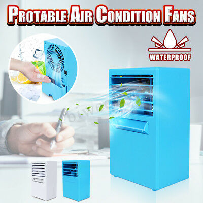 Mini Portable Desktop Air Conditioner Cooling Mist Spray Humidifying Table Fan