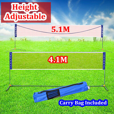 New 4m/5m Adjustable Badminton Net Outdoor Tennis Volleyball Net W/ Stand Frame