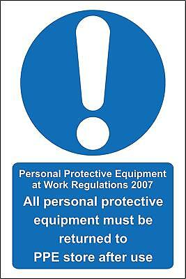 All personal protective equipment must be returned to PPE store after use Safety