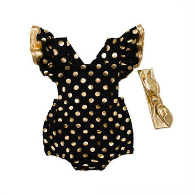 Newborn Infant Baby Girls Polka Dot Romper Jumpsuit Playsuit Clothes Outfit Sets