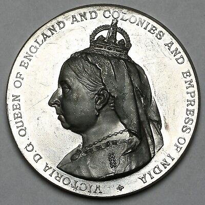 1886 Queen Victoria Colonial & India Exhibition Great Britain White Metal Medal