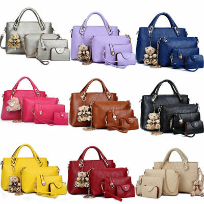 4PCS/Set Women Lady Leather Shoulder Bag Handbag Satchel Clutch Coin Purse Lot