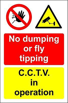 No dumping or fly tipping CCTV in operation Safety sign