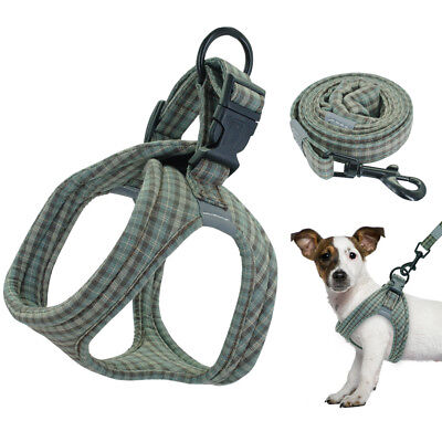 Fabric Step-in Dog Harness Vest & Lead Padded Cozy for Small Dogs French Bulldog