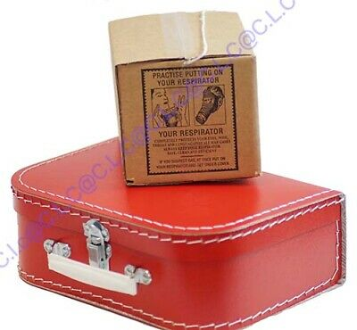 1940s Beret-Suitcase-Gas Mask Box-Ration Book-Postcard-New Label Memorabilia Set