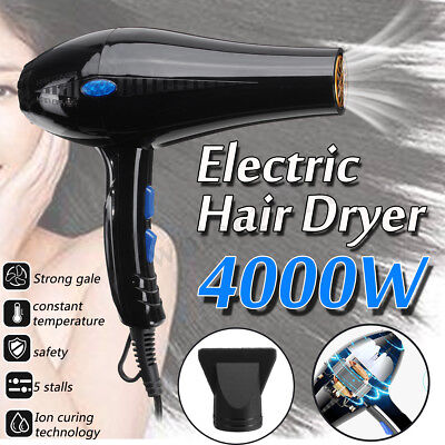 4000W Pro Hair Dryer Hot & Cold Ionic Blow Fast Heating Household Blower 220V