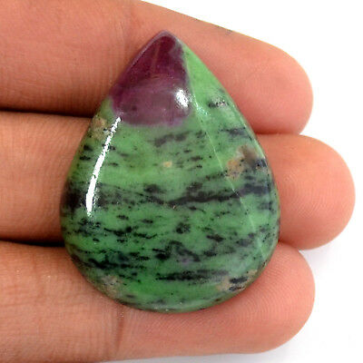 DESIGNER NATURAL RUBY ZOISTE PEAR 35x26x6 MM CABOCHON LOOSE GEMSTONE 69 Ct.