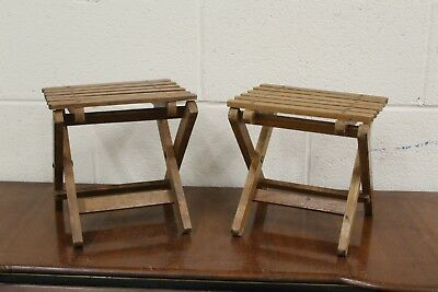 Pair of Vintage wooden fishing stools children's stools