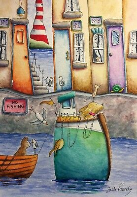Original Watercolour Painting by JULIA Seaside Dog, Cat, Mouse, Lighthouse Boat