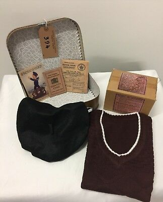 GIRLS 1940s Wartime Memorabilia COMPLETE Beret-Suitcase-Tank Top Fancy Dress Set