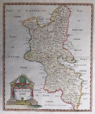 1695 Antique Morden County Map of Buckinghamshire - very nice example