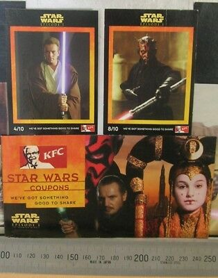 Star Wars Episode 1 The Phantom Menace, 1999, KFC Pizza Hut brochure and 2 cards