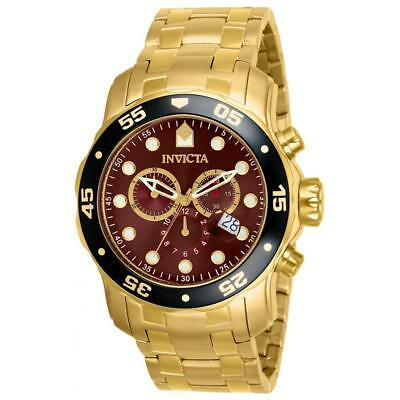 Invicta 80065 Men's Pro Diver Scuba Brown Dial Gold Plated Steel Bracelet Watch