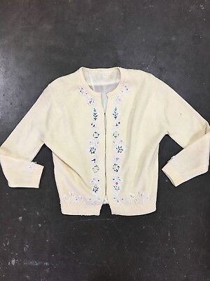 1950's Wool Beaded Sweater Floral Cardigan cream pinup rockabilly rhinestones