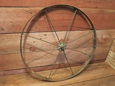 "Vintage  24""  8 Spoke Wheelbarrow Cart Steampunk Primitive Farm Wheel!"