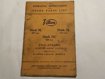 VILLIERS MARK 9E 2L 31C 2-Stroke Engine Instruction & Spares Book Manual  1957