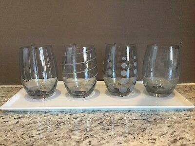 Stemless Wine Glasses by Mikasa, Cheers Smoke, Set Of 4 Glasses