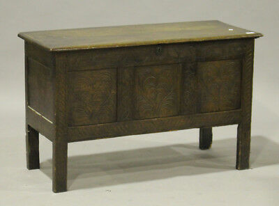 Antique 18th Century Oak Carved Coffer with candle box chest blanket ottoman
