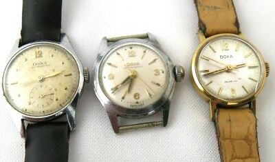 Vintage Rare Lot Of 3 DOXA Hand Winding Old Watches Swiss Made Ladies