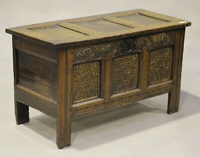 Antique 17th century oak carved coffer Blanket Box Storage chest Ottoman candle
