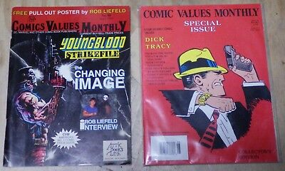 2 Comic Values Monthly 1990 Featuring Dick Tracey; 4/1993 Featuring Youngblood