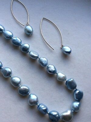 Fresh Water Pearl Necklace And Earring Set, 925 Silver Clasp, BNWOT