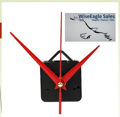 Silent Wall Clock Quartz Movement Mechanism (Red Hands) W/Hook DIY 5168s/6168s