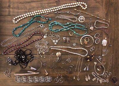 Huge Lot Sterling Silver Over 40 Wearable Pieces, Not Junk!