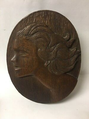 Vtg Art Deco Carved Wood Box Figural Girl Woman, Signed Paul Gouard 1938