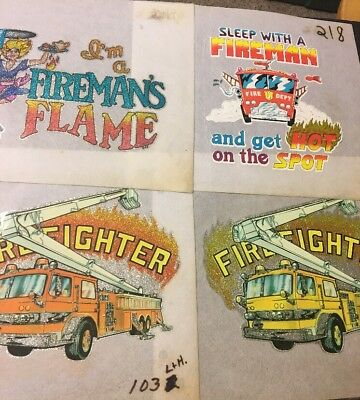 Lot Of  4 Vintage Iron On T-Shirt Transfers 1970's 80's Fire Fighters & Trucks