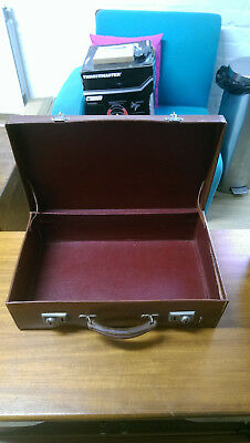 Vintage Retro Old Brown Suitcase Burgundy lining good quality