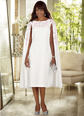 Ashro Pink White Formal Wedding Mother of the Bride Church Marielle Cape Dress