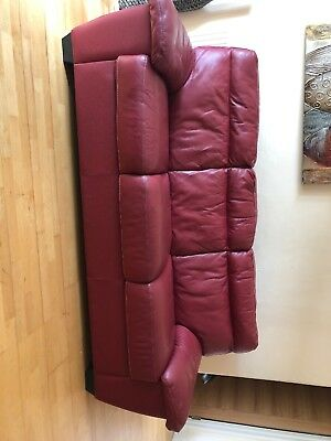 3 Seater Red Leather Sofa Good Condition Need This Gone ASAP
