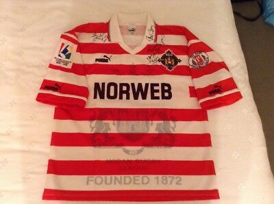 Wigan Warriors Centenary 1895 - 1995 Signed Rugby Shirt Size M