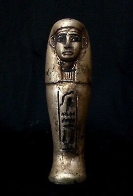EGYPTIAN USHABTI SHABTI ANTIQUES Mummy Statue Carved Stone Gold Paint 2600 BC
