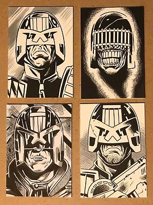 4 Original Hand Drawn Judge Dredd Art Cards By Pro Artist 2000Ad Comics