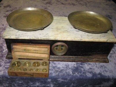 Antique H.Troemner Apothecary Balance Scale Wood Base & Marble Top.