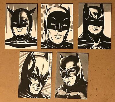 Set Of 5 Original Hand Drawn Batman Art Cards By Pro Artist Dc Comics