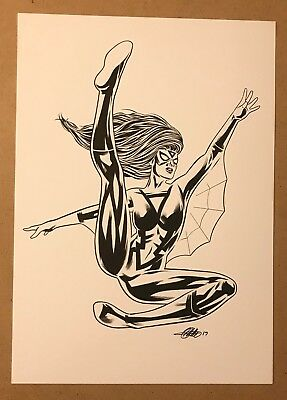 ORIGINAL HAND DRAWN SPIDER-WOMAN ART BY PRO ARTIST (11.7 x 8.3) MARVEL COMICS