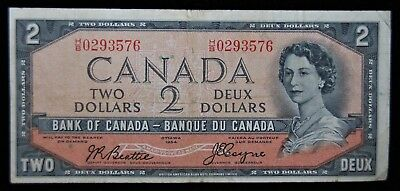 1954 Canada $2 Two Dollar Note - Devil's Face Hairdo Issue - #67B - Vf Condition