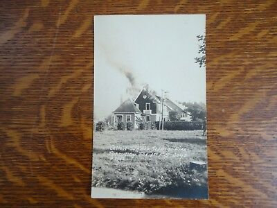 Catholic Summer School on Fire Putout by The F.A. boys RPPC Real Photo Postcard