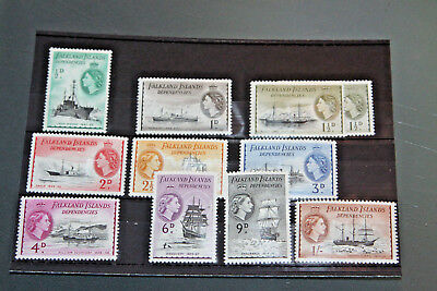 Falkland Island Dependencies - 1954-62 Ships Part Set To 1/- - Mint