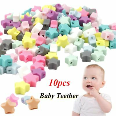 Food Grade Bracelet Baby Teether BPA-Free Silicone Chew Beads Mom DIY Necklace