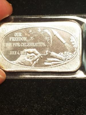 July 4, 1975 Our Freedom Fire Works 1 oz 999 Silver Bar US Silver Corporation