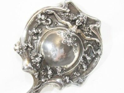 Antique Art Nouveau Ds Co Silverplate Hand Mirror, Beautiful Cherub & Flowers
