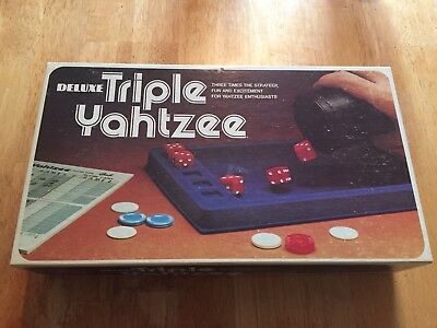 """1978 E S Lowe game """" Deluxe Triple Yahtzee """" complete/great cond, extra pads"""