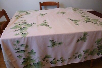 Vintage Pink And Green Leaves Table Cloth