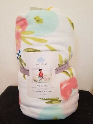 Cloud Island Activity Tummy Time Mat floral Flowers pink green